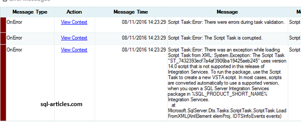 SSIS 2014 Execution Error while validating Script Component – SQL