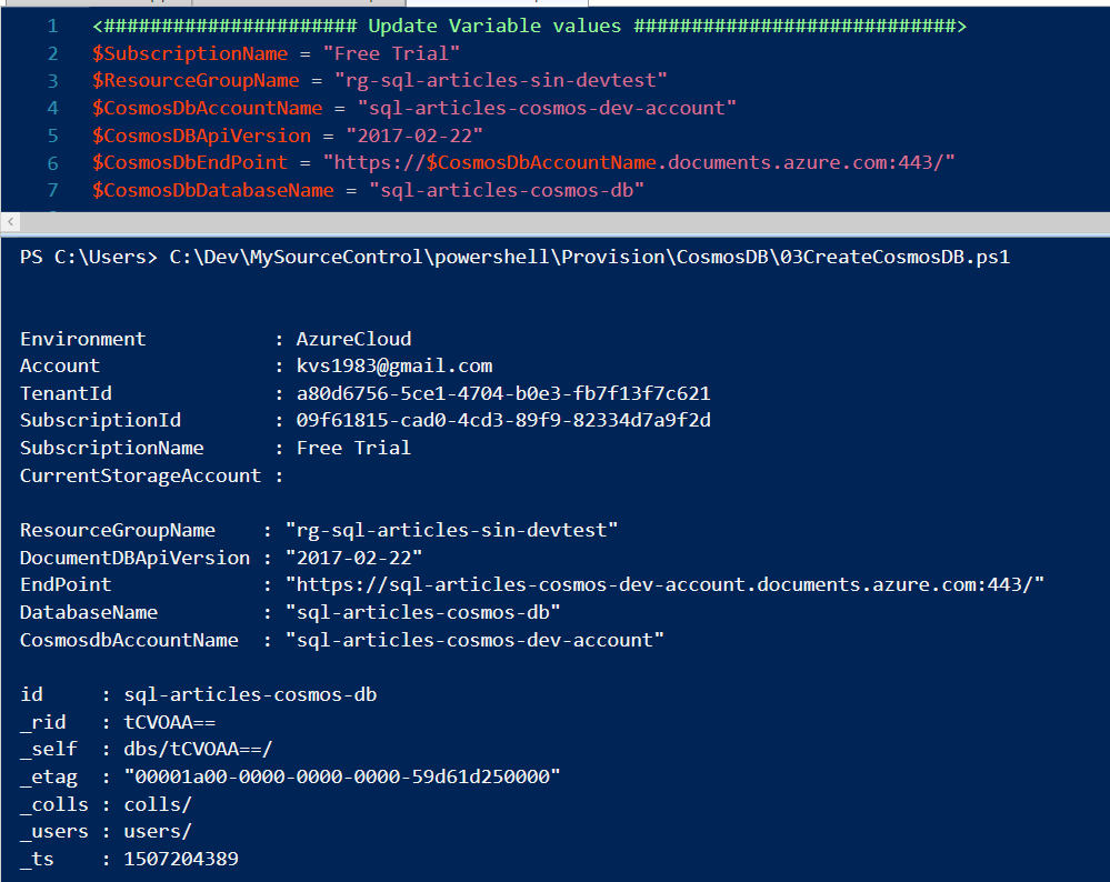 Provisioning Azure Cosmos DB using Powershell – SQL-Articles