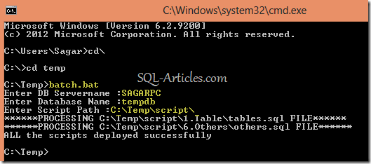how to run sql script in batch file
